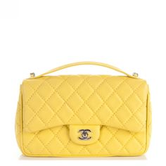 5a98298b8385 CHANEL Lambskin Quilted Medium Easy Carry Flap Yellow