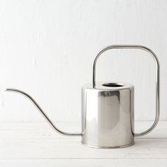"A long, slender spout makes watering a breeze with this polished, stainless steel watering can.- Stainless steel- Holds 1.5 liters- Imported9.5""H, 5.25""W, 15""L"