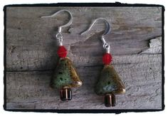 Ceramic Christmas Tree Earrings Free Shipping by JuneMoonBeads, $11.99