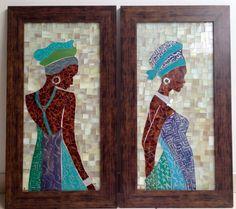 Glass mosaic, mosaic african Mosaic Rocks, Mosaic Glass, Glass Art, Stained Glass Patterns, Mosaic Patterns, Afrique Art, African Quilts, Mosaic Portrait, African Paintings
