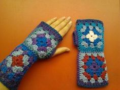awesome RETRO  Crochet Gloves/Cuffs granny squares