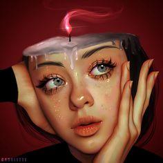 Ruby Caurlette is a 17 years old self-taught digital artist, from Syria. She makes impressive digital portrait drawings. Digital Art Girl, Digital Portrait, Portrait Art, Sky Digital, Surealism Art, Computer Drawing, Posca Art, Surreal Artwork, Image Digital