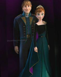 Queen Anna and her King, Kristoff of Arendelle from Frozen 2 Disney Nerd, Cute Disney, Disney Style, Frozen Disney, Disney Cartoons, Disney Movies, Frozen Wallpaper, Disney Princess Dresses, Disney Couples