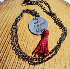 Boho, yoga, Ohm necklace, hand stamped aluminium disc, just breathe, quote pendant, red tassel, chain necklace by dzinebug on Etsy