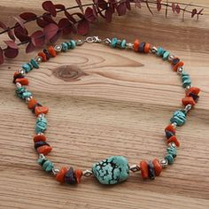 With gorgeous turquoise nuggets, amethyst nuggets and brilliant orange jade nuggets, this piece of jewelry says it all. Dancing Waters necklace by Susen Foster is a perfect addition to any collection.