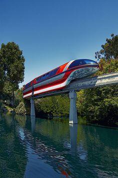 One of the few shots I have of the Disneyland Monorail. Walt Disney World Vacations, Disney Parks, Disney Disney, Disney Theme, Disney Stuff, Disney Tickets, Trains, Disney Dining, Disney Springs