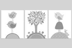 Gray and White Nursery Art, Bird Nursery Decor, Set of Three Prints, Girl's Room Decor, Baby Girl Prints, Bird Canvas Decor, Bird Wall Decor Bird Nursery, White Nursery, Nursery Art, Nursery Decor, Room Decor, Wall Decor, Bird Canvas, Grey And White, Gray