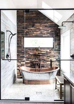 dual shower* copper tub* stone tile* glass doors* love