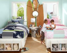 Mint green walls provide a cheery backdrop in this shared room for a brother and sister | Pottery Barn Kids