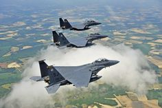 F-15s from Seymour Johnson AFB, Goldsboro, NC, home of the 4th Fighter Wing and the 916th Air Refueling Wing.