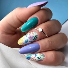 Teal Acrylic Nails, Pointed Nails, Floral Nail Art, Pretty Nail Art, Manicure E Pedicure, Minimalist Nails, Dream Nails, Beautiful Nail Designs, Flower Nails
