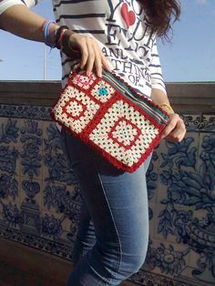 Wonderful strawberry Granny Square wristlet clutch by nekkashop,