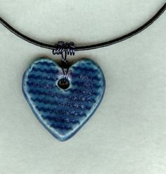 Handmade (yes, I do that too!) Ceramic Cobalt Blue Heart Pendant with Wire Wrapped Bail