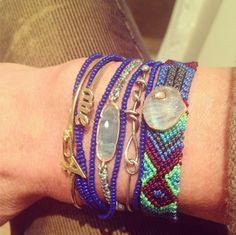 WHITE bIRD | Bracelet stack of the day DEZSO Sara Beltrán Mexican bracelet + Brooke Gregson aquamarine bracelet + Lena Skadegard azure blue necklace. Available at WHITE bIRD Jewellery