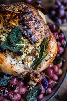 Fall Harvest Cider Roasted Chicken with Walnut Goat Cheese   Grapes | halfbakedharvest.com @hbharvest