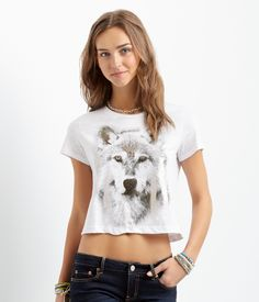 Wolf Shimmer Boxy Crop Tee - Aeropostale