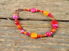 Pink and orange anklet beaded anklet pink jewelry pink #AnkletsJewelry