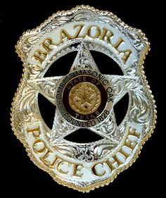 Beautiful hand made and engraved badge from precious metals for Brazoria, TX Police Chief