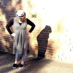 Shadow play wearing shades of grey. Wearing @boohooaus bowler, @jumpclothingaus dress and @kellyandport pants #WinterLuxe #styleblogger #whatiwore #kimbalikes #ootd #40plusstyle X