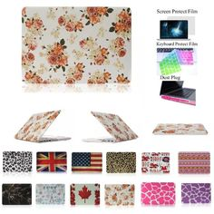 """HongRD(TM)9 Fashion Patterns Available-4 in 1 Rainbow Rubberized Ultra Slim Light Weight Hard Crystal Shell Case Cover for Macbook Pro 13.3-inch 13.3"""" A1278 +LCD HD Clear Screen Protector+One Keyboard Skin+One Set Dust Plug (Peony Flower)"""