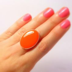 Statement Ring Orange Silver Oval Ring Cocktail Ring by Pilboxx