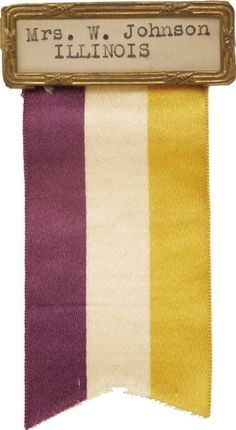 This ribbon was issued by Alice Paul's National Woman's Party, the group that picketed the White House.  The colors of purple, white, and yellow were so clearly identified with Paul's group that no written identification on the ribbon was deemed necessary.