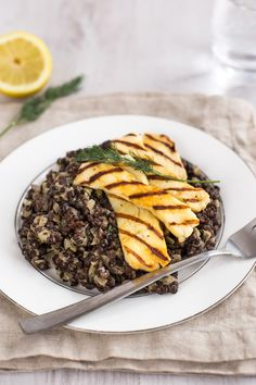 Creamy dill and caper lentils with grilled halloumi