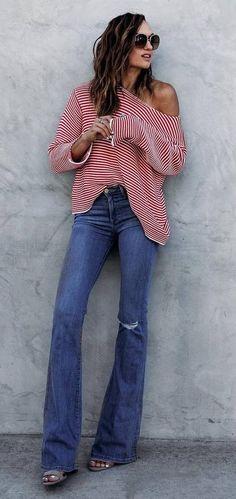 top + wide leg jeans  fall fashion
