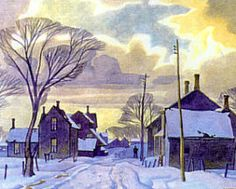 Winter in the Village. Alfred Joseph Casson - a member of the Canadian Group of Seven Group Of Seven Art, Group Of Seven Paintings, Paintings I Love, Emily Carr, Canadian Painters, Canadian Artists, Winter Painting, Winter Art, Landscape Art