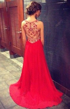 beaded red illusion back prom dress 2015