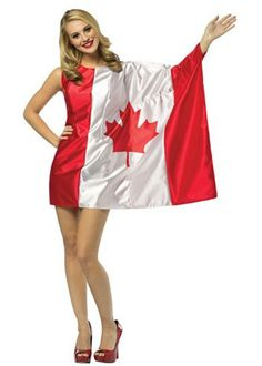 Posa Another great find on Canadian Flag Dress-Up Outfit - Women by Rasta Imposta Dress Up Outfits, Sexy Dresses, Dresses With Sleeves, Adult Costumes, Costumes For Women, Cosplay Costumes, Canadian Costume, Canadian Party, Patriotic Costumes