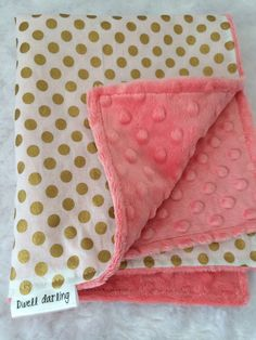 Gold dot lovey security blanket coral minky gold by DwellDarling