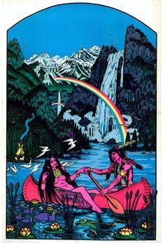 Vintage Rare #70s 1974 Blacklight Poster waterfall rainbow canoe