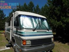 My motorhome with reflective bubble wrap insulation on the inside RV windshield. (click 2 read more)