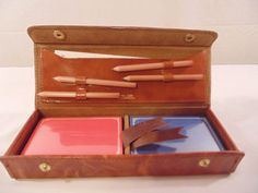 Vintage Bridge 2 Deck Playing Cards Score Pad Leather Case Pencil Set never used