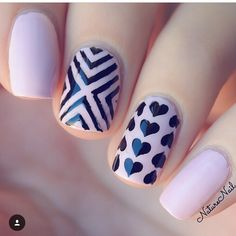 Double accent mani by @naturenail using: - Heart Nail Stencils Right Angle Nail Stencils (X Pattern) Find them at snailvinyls.com