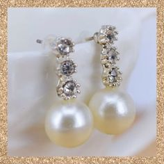 Rhinestone & Pearl Drop Earrings Rhinestone & faux Pearl drop earrings. Classic & elegant. Will go from day to night! New. No Trades. Boutique Jewelry Earrings