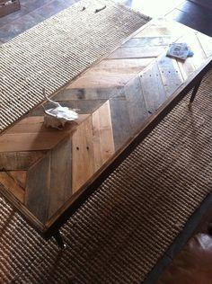 Reclaimed Chevron herringbone pallet barnwood side, entry way modern foyer loft console coffee table sofa table.  Modern eames peg legs.. $335.00, via Etsy.