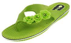 Chatties Womens Dressy Floral Flip Flops Large Lime Green *** For more information, visit image link.