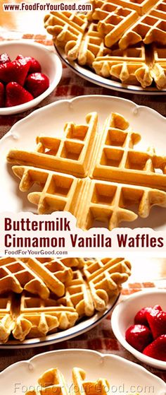 On the top of our breakfast's favorite list is our Buttermilk Cinnamon Vanilla Waffles. They are a bit crispy on the outside and have a nice smooth texture on the inside. Add your favorite syrup and we bet... | Full RECIPE on http://FoodForYourGood.com #buttermilk_cinnamon_vanilla_waffles