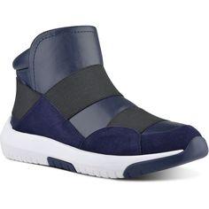 Nine West Neya High-Top Sneakers ($109) ❤ liked on Polyvore featuring shoes, sneakers, nine west shoes, suede slip on shoes, suede shoes, slip-on shoes and hi low tops