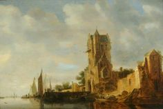 River Scene with a Tower by Jan van Goyen  Oil on panel, 40 x 58 cm