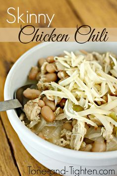 """Fall is here! Get away from creamy and fattening soups and turn to this AMAZING """"Skinny Chicken Chili""""! #healthy #recipe from Tone-and-Tighten.com"""