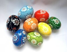 Set of 8 Hand Decorated Colours Painted Chicken Easter Egg, Traditional Slavic Wax Pinhead Chicken Egg, Kraslice, Pysanka