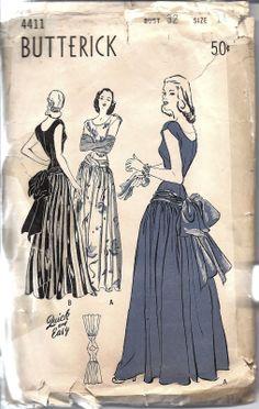 Butterick Vintage Sewing Pattern Misses 1940's Bustle Back Dance Dress 4411