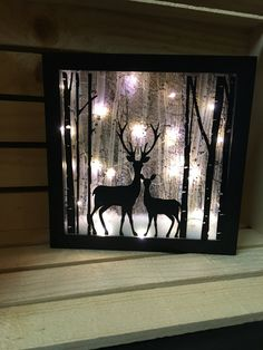 Deer lighted shadow box 8x8, Night light, christmas decor, hunting decor, child nightlight, peaceful by LotsOfLoveCrafting on Etsy https://www.etsy.com/listing/465978956/deer-lighted-shadow-box-8x8-night-light