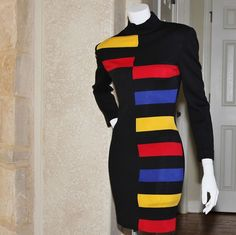 1980's PATRICK KELLY *VINTAGE* Color Block Dress FR 38  USA 6 Made in France #PATRICKKELLY #fashion #style #ootd #runway