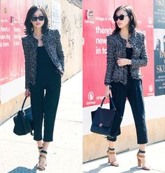 Misspouty Metallic Tweed Jacket, Celine Trapeze Bag, Karen Walker Butterfly Sunglasses, Misspouty Ruffle Black Jumpsuit