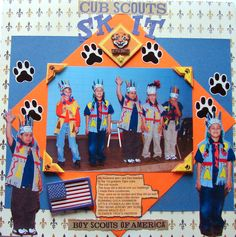 """My husband and I are den leaders to the Cub Scouts graders """"Tiger Cubs"""" Here we had the boy do a skit They were so excited and did so well. Scrapbook Templates, Scrapbook Page Layouts, Scrapbook Pages, Scrapbooking Ideas, Cub Scout Skits, Cub Scout Activities, Tiger Scouts, Cub Scouts, All Craft"""