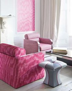 Moire Textiles, Modern Fabric, Fabric Design, Pink, House Design, Throw Pillows, Contemporary, Interior Design, Bed